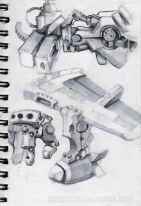 mech pieces, grey markers+ink